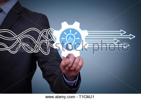 Innovative idea solution concepts on visual screen - Stock Photo