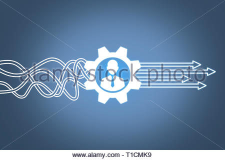 Human Resourses Solution Concepts on Touch Screen - Stock Photo