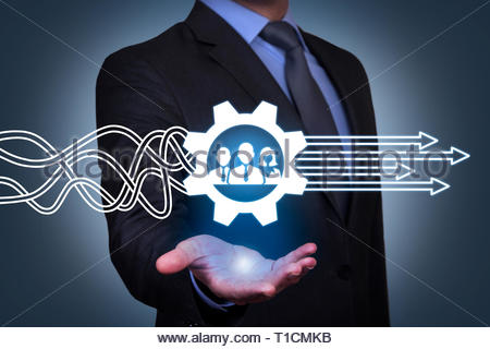 Teamwork Solutions Concepts on Visual Screen - Stock Photo