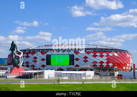 Moscow, Russia - May 30, 2018: Main view of Spartak Stadium or 'Otkritie Arena'. Before opening 2018 FIFA World Cup - Stock Photo