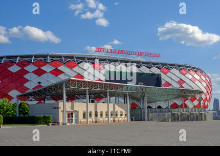 Moscow, Russia - May 30, 2018: Main entrance of Spartak Stadium or 'Otkritie Arena'. Before opening 2018 FIFA World Cup - Stock Photo
