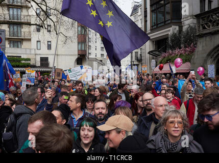 London, England, UK. 23rd March 2019, Anti Brexit Protestors Gather in London, UK. Credit J Walters/Alamy Live News - Stock Photo