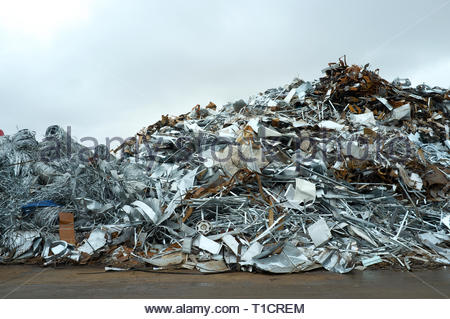 Pile of scrap metal in yard, for recycling. Cardiff, UK. - Stock Photo