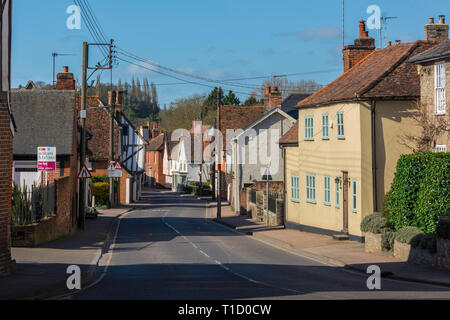 Bures Suffolk UK, view along the High Street in Bures village on the Essex Suffolk border, Babergh district, Suffolk, UK. - Stock Photo