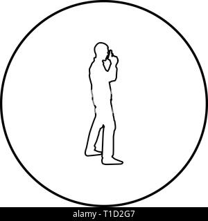 Man with gun Hazard concept icon outline black color vector in circle round illustration flat style simple image - Stock Photo