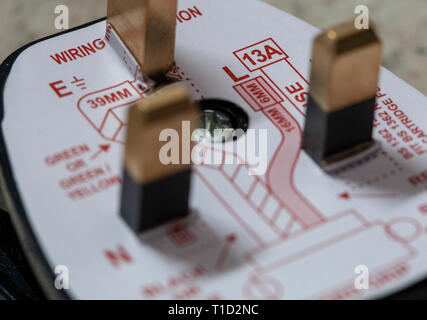 UK plug connection diagram - Stock Photo