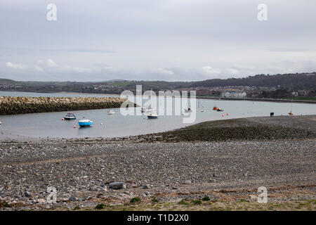 Boats and yachts at anchor in the small harbour inlet at Rhos on Sea, North Wales - Stock Photo