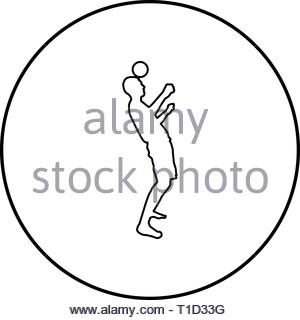 Man kicks the ball on head. Soccer player taps ball with his head Football concept Juggling trick with ball icon outline black color vector in circle  - Stock Photo