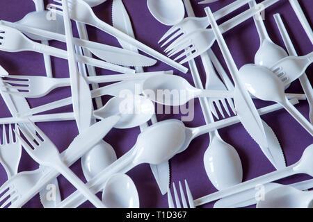 plastic disposable cutlery, forbidden in european union - Stock Photo