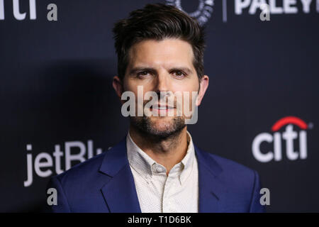 HOLLYWOOD, LOS ANGELES, CA, USA - MARCH 21: Actor Adam Scott arrives at the 2019 PaleyFest LA - NBC's 'Parks and Recreation' 10th Anniversary Reunion held at the Dolby Theatre on March 21, 2019 in Hollywood, Los Angeles, California, United States. (Photo by Xavier Collin/Image Press Agency) - Stock Photo