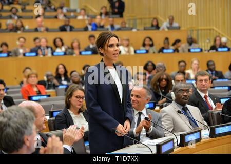 U.S. Secretary of State John Kerry listens as UNAIDS International Goodwill Ambassador Victoria Beckham addresses the Ending AIDS by 2030 event at the - Stock Photo