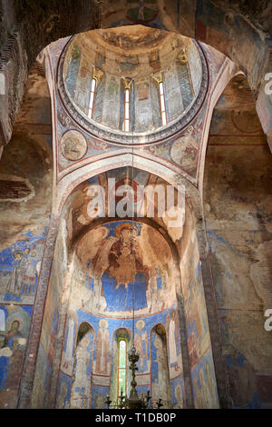 Pictures and images of the historic frescoes of St Nicholas Church interior in the medieval Kintsvisi Monastery Georgian Orthodox Monastery complex, S - Stock Photo
