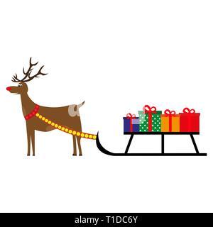 cartoon deer carries New Year gifts  - Stock Photo