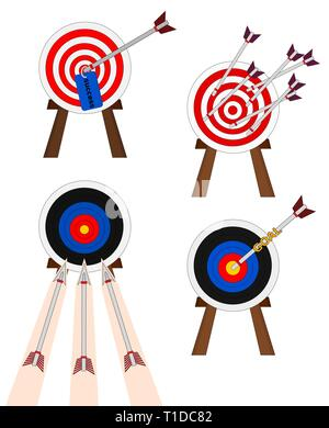 Business success shooting arrow to target , icon set - Stock Photo