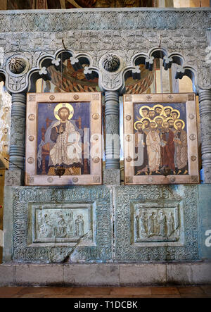 Picture of the interior Iconostasis screen and icons.  The Eastern Orthodox Georgian Svetitskhoveli Cathedral Cathedral of the Living Pillar - Stock Photo