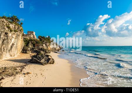White sand beach and ruins of Tulum, Yuacatan, Mexico - Stock Photo