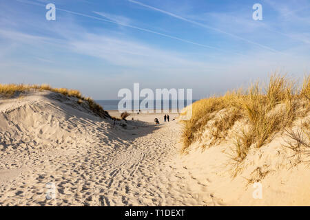 North Sea island Langeoog, Ostfriesland, Lower Saxony, beach crossing, beach path, - Stock Photo