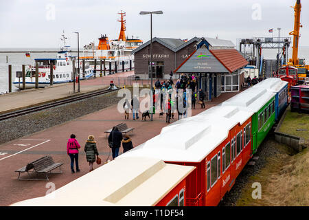 Inselbahn, train from the ferry terminal to the island railway station in the village, North Sea island of Langeoog, East Frisia, Lower Saxony, - Stock Photo