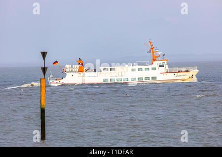 North Sea island Langeoog, East Frisia, Lower Saxony, ferry Langeoog 1, - Stock Photo