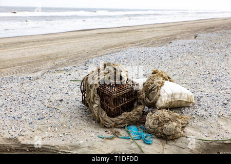 North Sea island Langeoog, Ostfriesland, Lower Saxony, beach, flotsam, - Stock Photo