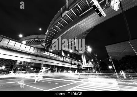 Elevated Expressways in Tokyo at Night - Stock Photo