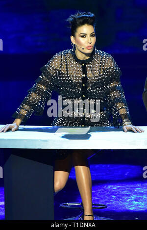 Naples, Italy. 25th Mar, 2019. Elisabetta Gregoraci during the fourth episode of the show 'Made in the Sud' on Rai 2 live from the Auditorium Rai of Napoli. Credit: Paola Visone/Pacific Press/Alamy Live News - Stock Photo