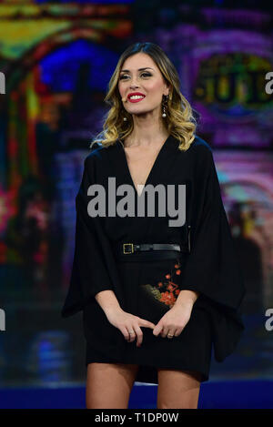 Naples, Italy. 25th Mar, 2019. Fatima Trotta during the fourth episode of the show 'Made in the Sud' on Rai 2 live from the Auditorium Rai of Napoli. Credit: Paola Visone/Pacific Press/Alamy Live News - Stock Photo