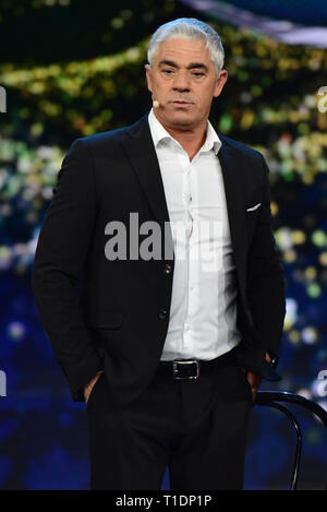 Naples, Italy. 25th Mar, 2019. Biagio Izzo during the fourth episode of the show 'Made in the Sud' on Rai 2 live from the Auditorium Rai of Napoli. Credit: Paola Visone/Pacific Press/Alamy Live News - Stock Photo