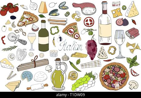 Set of hand drawn italian food elements isolated  - Stock Photo