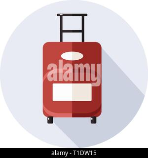 Suitcase  icon with long shadow on white  - Stock Photo