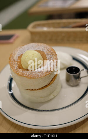 The famous Fluffy Pancakes in Japan, Hakodate, Hokkaido, Japan - Stock Photo
