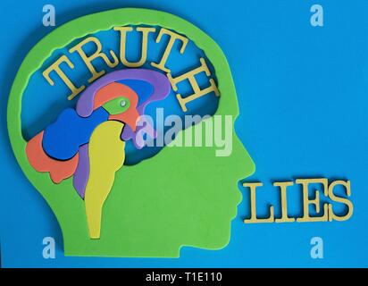 Conceptual image illustrating truth and lies. - Stock Photo