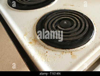 dirty and beat up coil stove top - Stock Photo