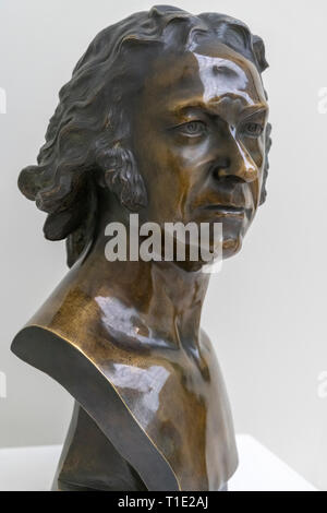 Contemporary bronze bust of famous painter Francisco de Goya  by Gaetano Merchi (1747-1825) - Stock Photo