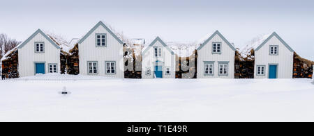 Old Icelandic Turf Houses, North Iceland - Stock Photo