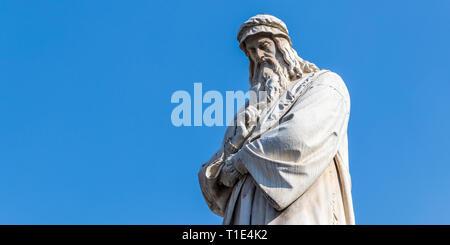 Closeup of Leonardo Da Vinci Statue in Milan, Italy - Stock Photo