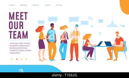 Vector meet our team concept creative business illustration with working people.  - Stock Photo