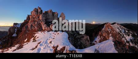 Mountain panorama with moon in Slovakia Fatras - Stock Photo