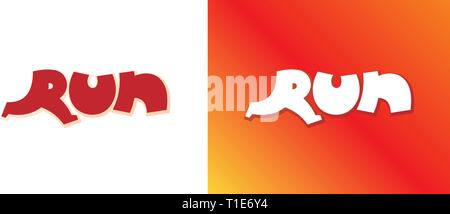 Run cartoon style red background set. Letter R form running man. Isolated vector sign symbol element. Typeset design. Banner template. Text sport font - Stock Photo