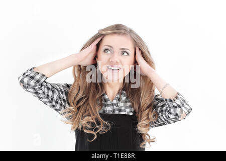 closeup.portrait of a surprised young business woman.isolated on white - Stock Photo