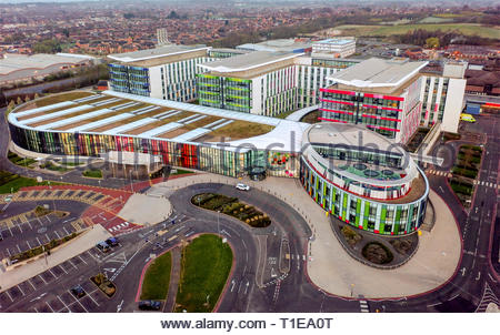 Aerial view of the Kings Mill National Health Service Hospital, NHS, Mansfield, England, - Stock Photo