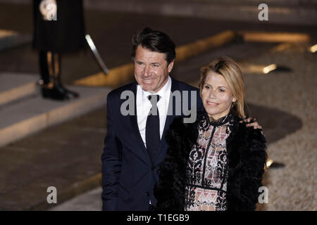Paris, France. 25th Mar, 2019. Christian Estrosi and his wife Laura Tenoudji attend the State dinner in honor of Chinese President Xi Jinping given by Emmanuel and Brigitte Macron at the Elysée Palace in Paris, France. Credit: Bernard Menigault/Alamy Live News - Stock Photo
