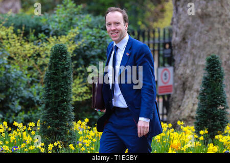 Downing Street, London, UK 26 Mar 2019 - Matthew Hancock - Secretary of State for Health and Social care  arrives in Downing Street for the weekly Cabinet meeting.  Credit: Dinendra Haria/Alamy Live News - Stock Photo