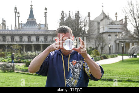 Brighton, UK. 26th Mar, 2019. Shane McQuire hones his skills by Brightons Royal Pavilion on a lovely sunny Spring day as the weather is forecast to be warm with more sunshine throughout Britain over the next few days Credit: Simon Dack/Alamy Live News - Stock Photo