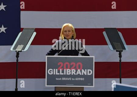 NEW YORK, NY - MARCH 24: Democratic presidential candidate U.S. Sen. Kirsten Gillibrand speaks during her official presidential campaign kickoff rally - Stock Photo