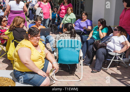 Miami Florida Shops at Midtown The Biggest Loser TV show reality television audition tryout casting overweight obese fat contest - Stock Photo