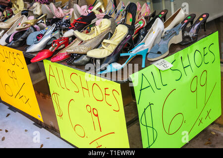 Miami Coral Gables Miami Florida Coral Way Miracle Mile store shop small business sidewalk sale sign price shoes bargain - Stock Photo