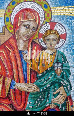 Florida, FL, South, Miami, Ukrainian Catholic Church, mosaic, Virgin Mary, Christ, mother and child, religion, faith, icon, Christianity, sightseeing - Stock Photo