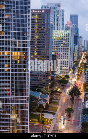 Miami Florida Brickell Avenue Financial District view from Epic Hotel office building real estate buildings luxury condominiums - Stock Photo