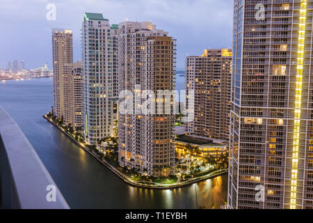 Florida, FL, South, Miami, Brickell Key, view from Epic, hotel hotels lodging inn motel motels, real estate, buildings, city skyline cityscape, condom
